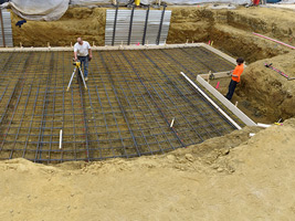 Laying down the framework for the foundation.