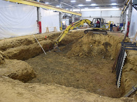 Excavation for the installation of the giant mill.