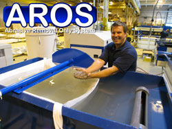 Remove waterjet abrasive from your tank easily and quickly with the AROS.
