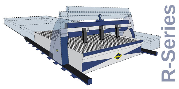 The R-Series waterjet is capable of being customized in the length, width and height
