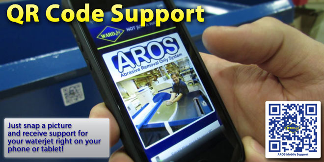 WARDJet's innovative approach to waterjet support allows you to get support right at your fingertips. Just shoot a photo of the QR code and support is sent right to your phone.
