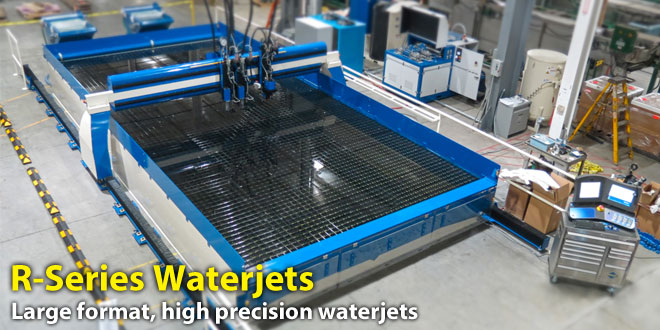 Large format, high precision, rail driven waterjets, including the largest waterjet table in the country.